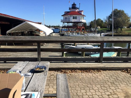 Setting up for lunch by the water