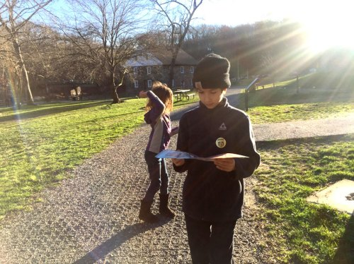 Still reading about the mill as we embark on a hike