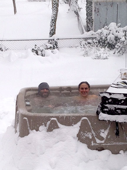 """""""Au Pair Life"""" (Our au pair was watching our kids while we enjoyed the hot tub during the blizzard.) by Vanessa Brown"""