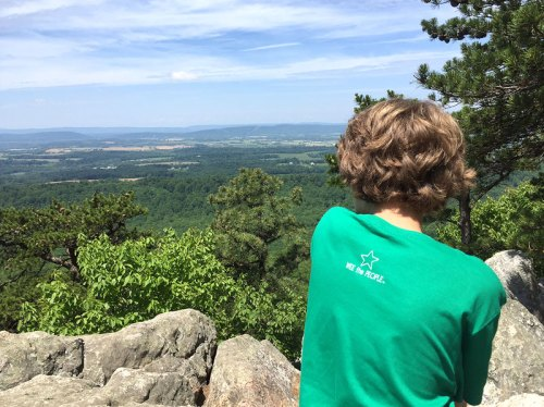 Taking in the views from the Sugarloaf Mountain summit -- a great place to hit the trail with kids