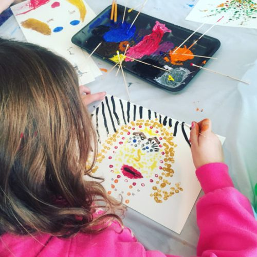 Exploring pointillism at an Open Studio Friday session