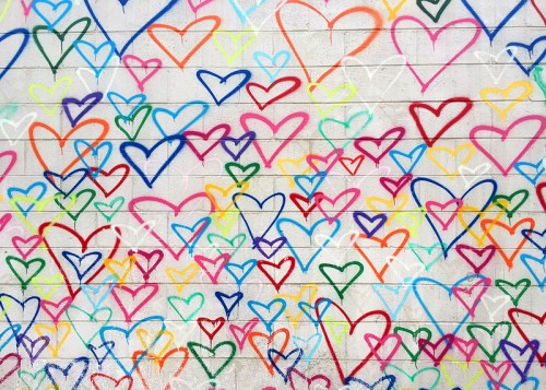 Graffiti art with heart created by Mr. Brainwash at Union Market's Dock5