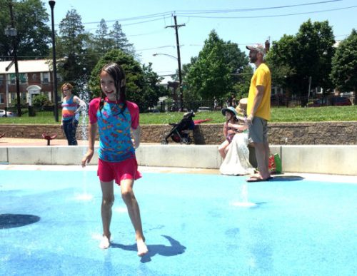 Stay cool in the sprays at Turkey Thicket playground