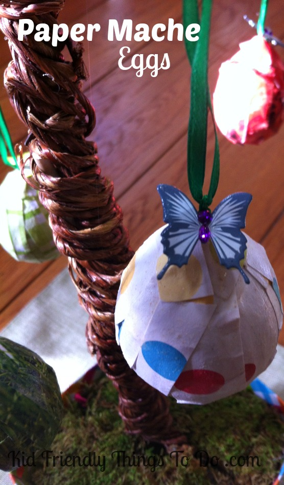 Paper mache easter egg craft for Egg carton paper mache pulp