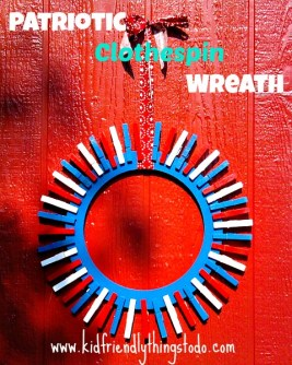 Easy DIY Patriotic Wreath! Clothespin wreath. KidFriendlyThingsToDo.com