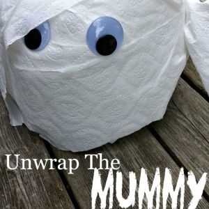 Unwrap the Mummy Game! Perfect for Preschool or Elementary School Halloween parties, or Hotel Transylvania Birthday Parties. You won't believe how easy this is, and how much the kids love unwrapping the toilet paper to find cute prizes!
