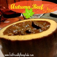 Serve this Autumn Beef Stew in a cooked pumpkin bowl! Delicious!