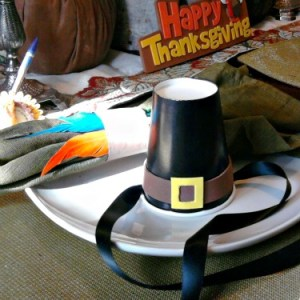 make a pilgrim hat from a paper cup