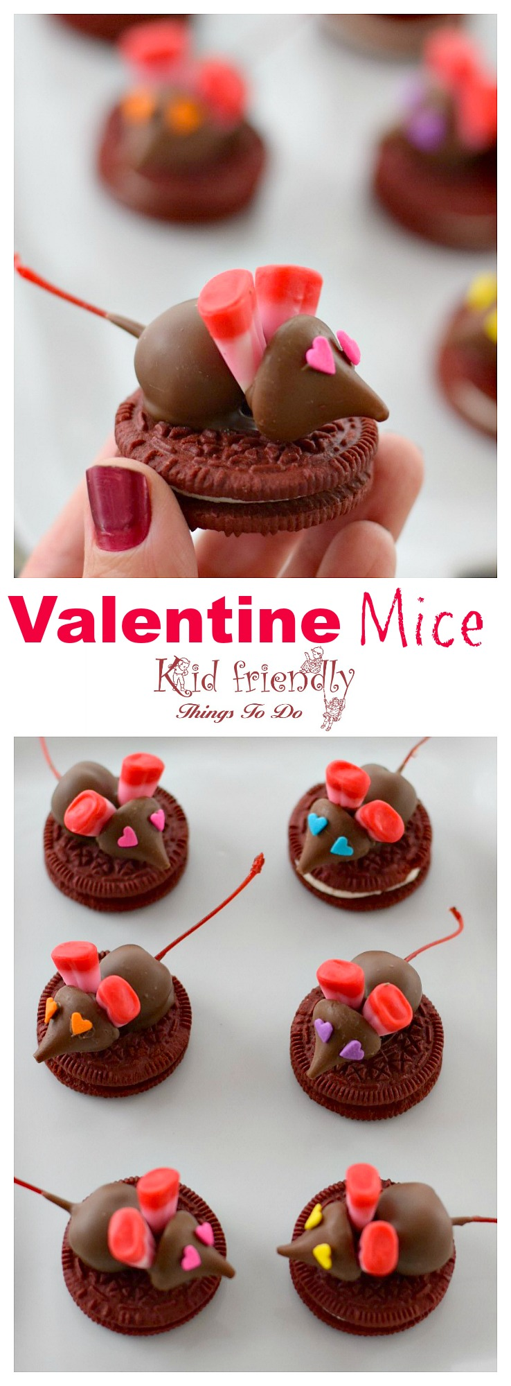 Chocolate Covered Cherry Valentine Mice On A Red Velvet Oreo Cookie for a kids fun food treat - great for parties www.kidfriendlythingstodo.com