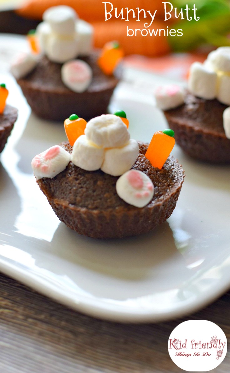 Bunny Butt Brownies! A cute and simple Easter dessert treat for kids and adults. www.kidfriendlythingstodo.com