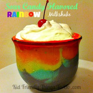 Sour Candy Flavored Rainbow Milkshakes! These are so much fun. Could be a St. Patrick's Day drink