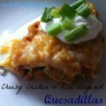 Easy Layered Cheesy, Chicken & Rice Quesadillas!