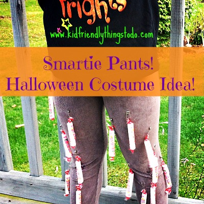 Attach Smarties to some old leggings with safety pins! Voila' Smarty Pants! Easy, Cute, and doubles as a snack!