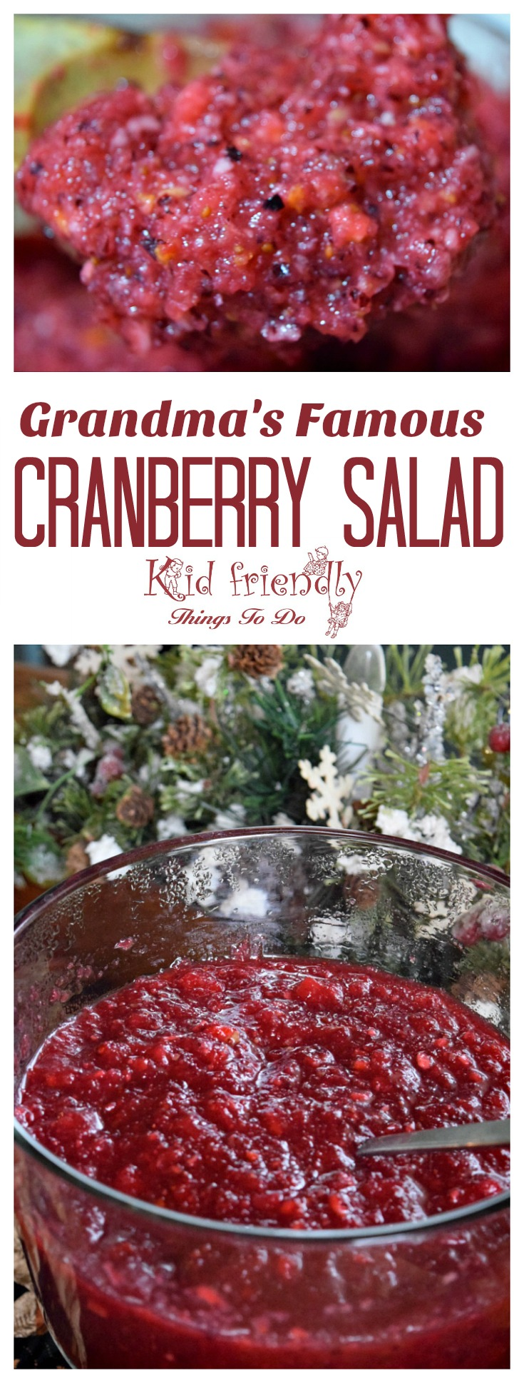 Delicious homemade cranberry salad recipe. Perfect for Thanksgiving and Christmas! www.kidfriendlythingstodo.com