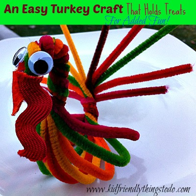Pipe cleaner turkey for a treat holder and thanksgiving for Pipe cleaner turkey craft