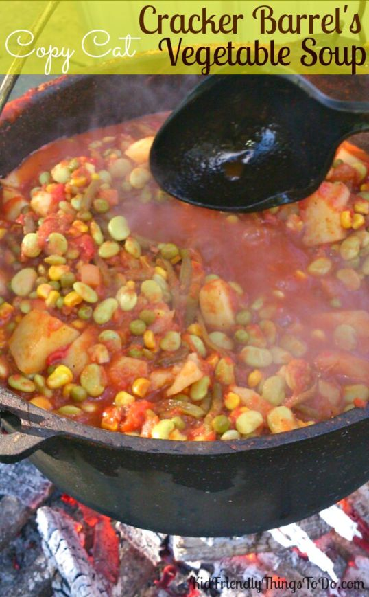 A copy cat version of Cracker Barrel's Vegetable Soup! Fall comfort food at it's finest. KidFriendlyThingsToDo.com