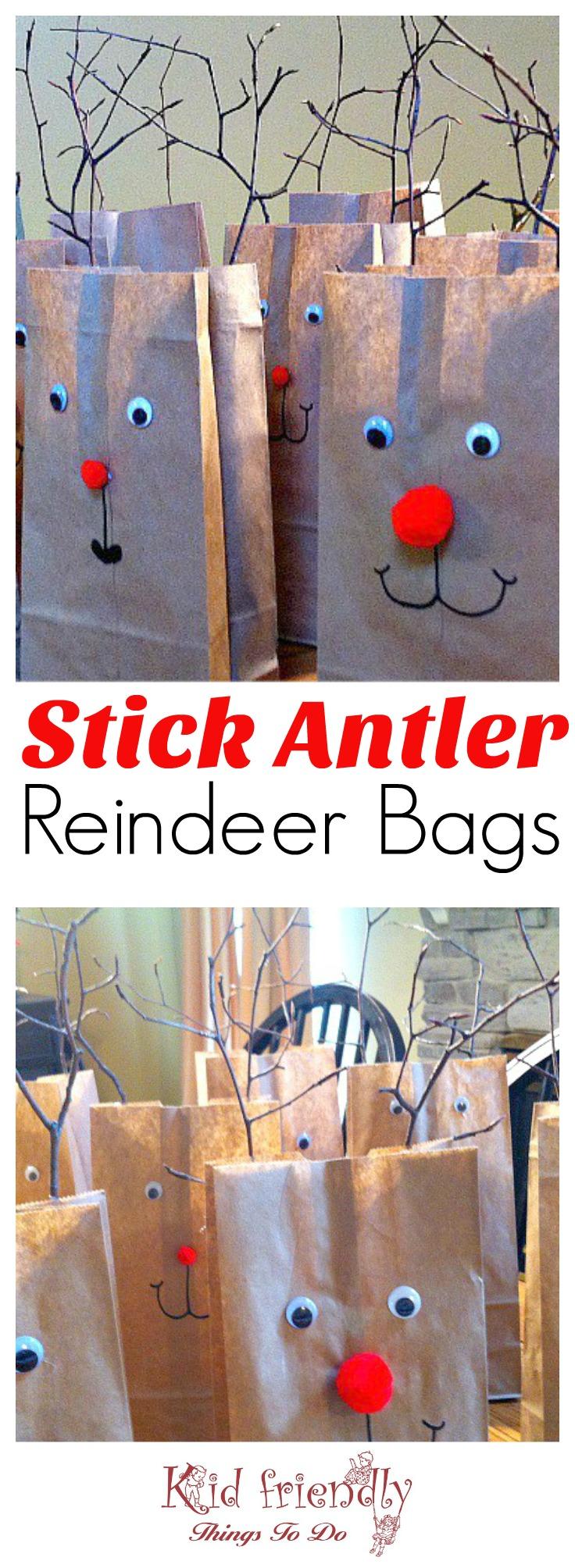 Twig Antlers Reindeer Bags for a kids Christmas party goody bag - www.kidfriendlythingstodo.com