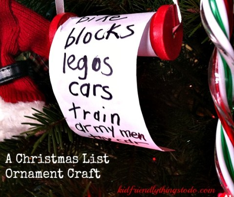 What a cute ornament for the Christmas tree! Simple, adorable, and a keepsake wish list! I love it!
