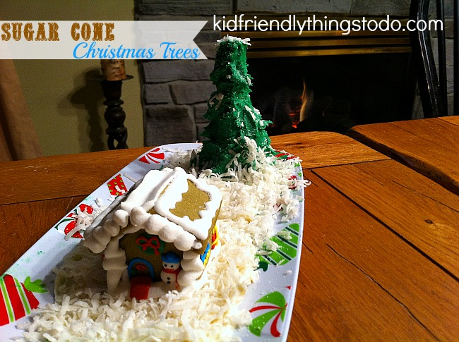 Sugar Cone Christmas Trees, Dollar Tree gingerbread houses, and coconut snow! So pretty, and so easy to do!
