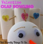 Valentine Olaf Bowling Game Idea - Kids love rolling Olaf's head at his bodies! This is so much fun you guys!