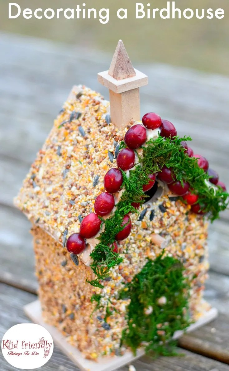 Decorating Birdhouses with kids is fun and easy to do. I have a simple DIY birdseed glue recipe to share with you. Great craft for winter, and fairy parties. Great gift for Mother's Day, Father's Day and Christmas! www.kidfriendlythingstodo.com