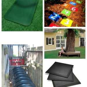 DIY Playground Ideas - loving these ideas for playground rubber surface, and fun play in the backyard!