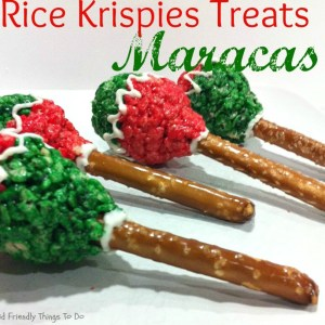 The best Rice Krispies Treats Maracas stuffed with M&Ms Minis so they make noise when you shake them!