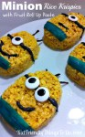Minion Rice Krispies Treats Fun Food Idea - What a fun idea that all kids at the birthday party will love! The Minions even have fruit roll up pants! Fun!