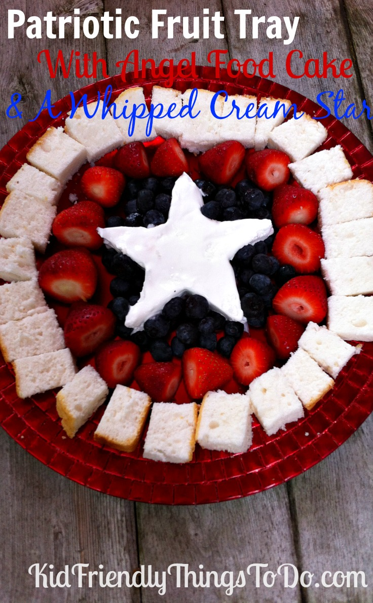 This patriotic fruit tray looks a lot like Captain America's Shield! Whipped Cream Star in the center! Angel Food cake, and fruit! Perfect food idea for Patriotic parties, Fourth of July, Memorial Day, or an Avenger Party!