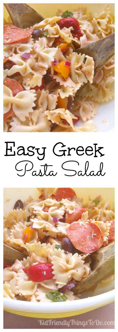 Easy Greek Pasta Salad Recipe - KidFriendlyThingsToDo.com