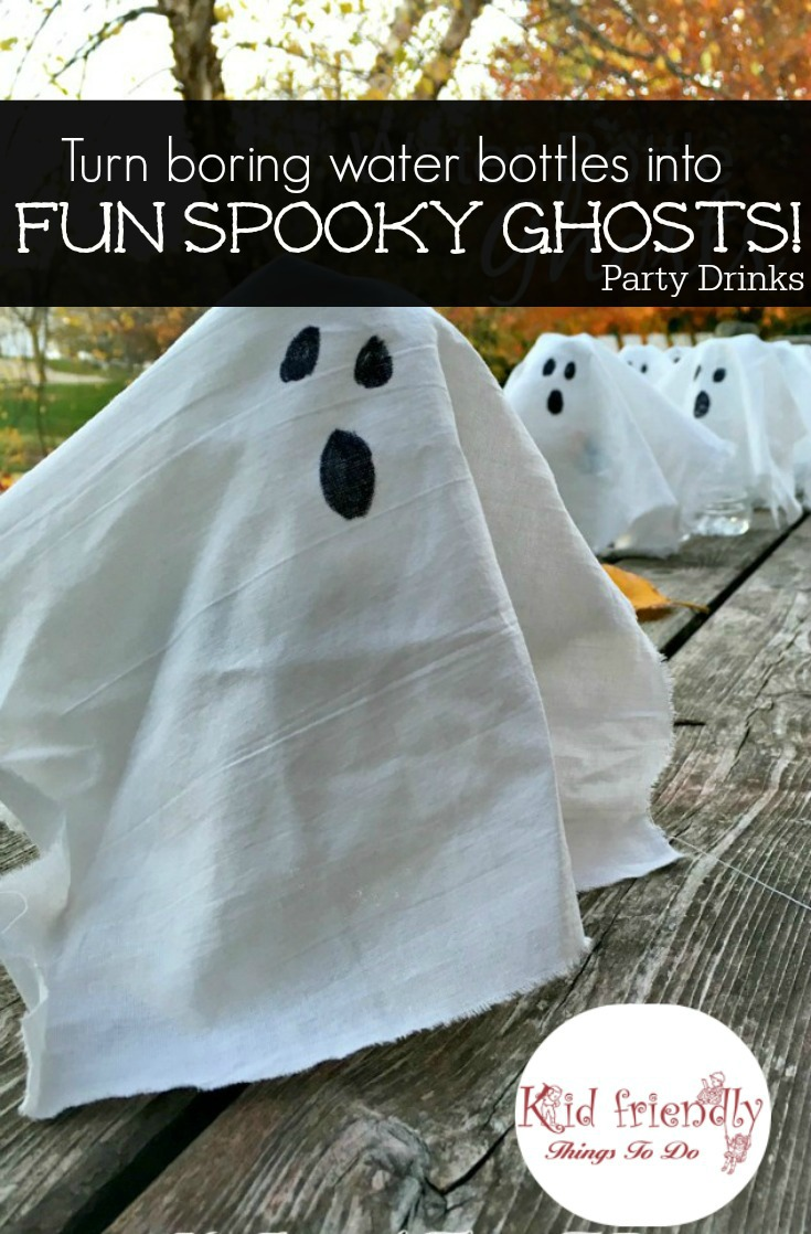 Transform water bottles into fun spooky ghosts for a fun  kid friendly Halloween party drink! www.kidfriendlythingstodo.com