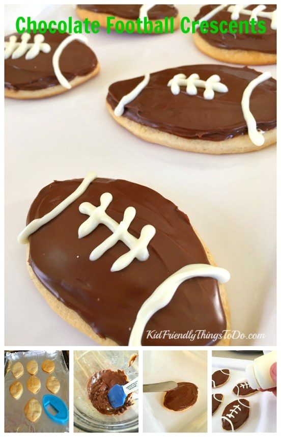 Chocolate Football Crescent Snacks - a fun football party food! - KidFriendlyThingsToDo.com
