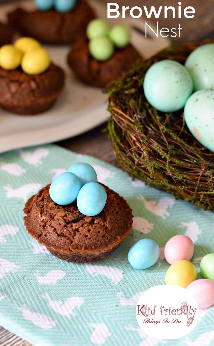 Brownie Bird Nest for a spring or Easter kid friendly treat - great dessert for Easter www.kidfriendlyhthingstodo.com