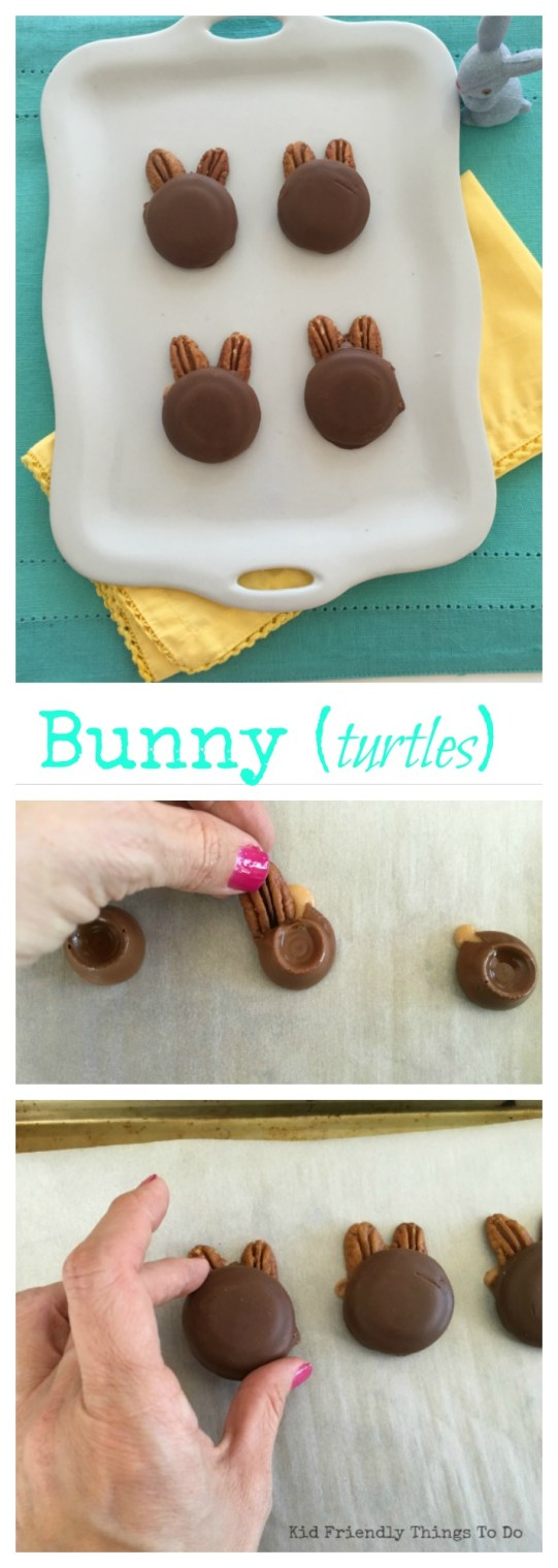 Only 3 ingredients! Done in 10 minutes! Easter Bunny Turtles! So adorable and so easy to make. KidFriendlyThingsToDo.com