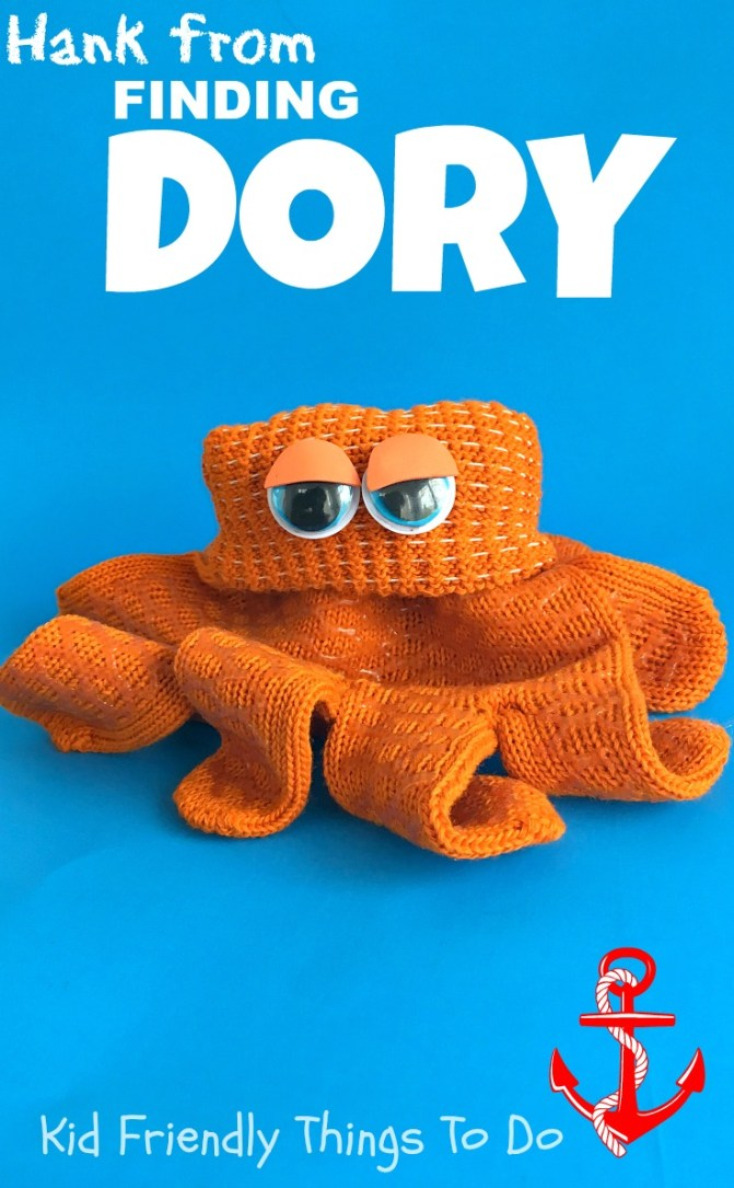 Hank from Finding Dory Craft! This is so easy and the best! Perfect for your Finding Dory birthday party with kids! KidFriendlyThingsToDo.com