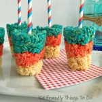Patriotic Rice Krispies Treat Pops on a Stick - Easy & Perfect for summer picnics, Fourth of July, Memorial Day and Labor Day - KidFriendlyThingsToDo.com
