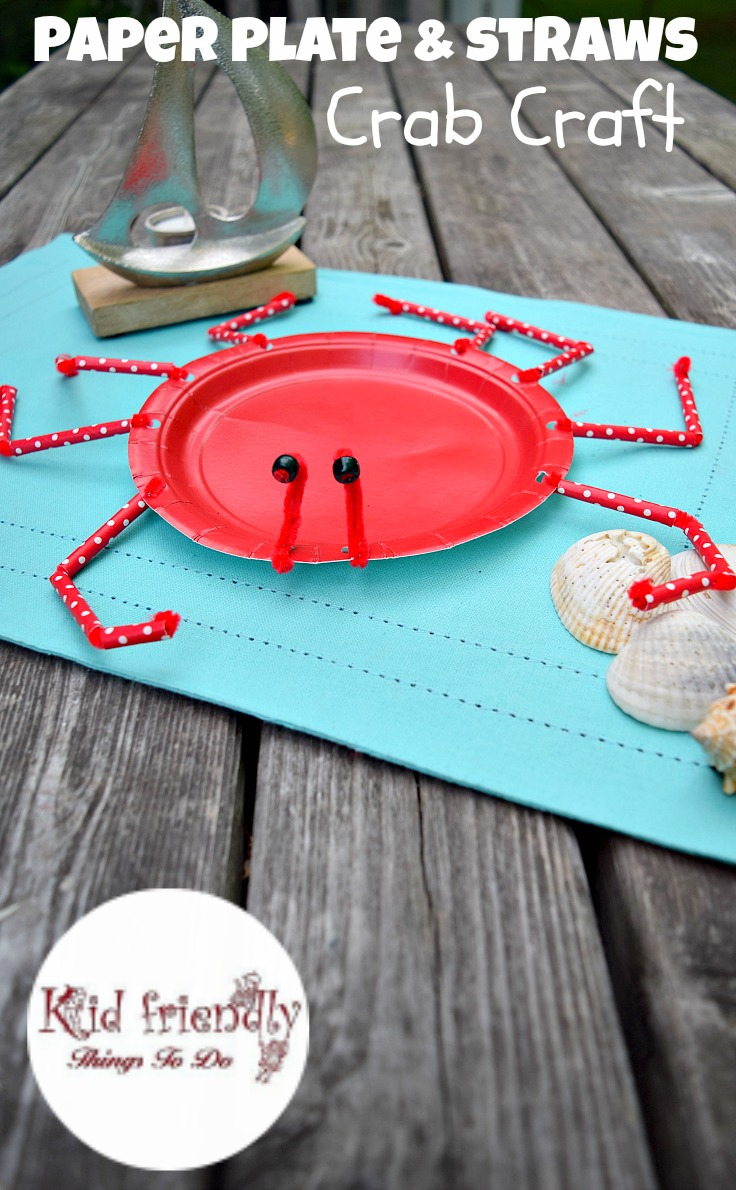 A Paper Plate Crab Craft for Kids to Make - Perfect for Ocean, Under the Sea, Finding Dory and summer parties! KidFriendlyThingsToDo.com