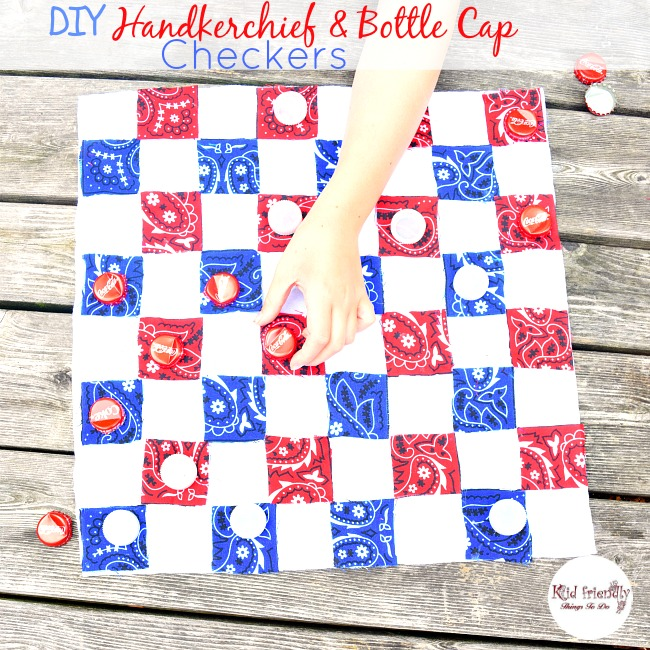 DIY - Make a No Sew Quilted Checkerboard and Bottle Cap Checkers
