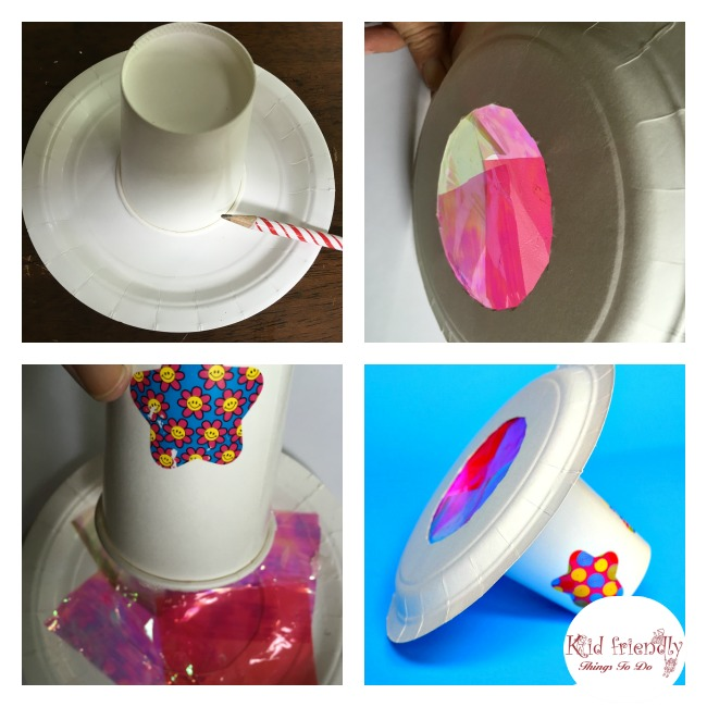 A Paper Plate and Cup Kaleidoscope Simple Craft for Kids - A fun and simple craft for in preschool or any age! KidFriendlyThingsToDo.com