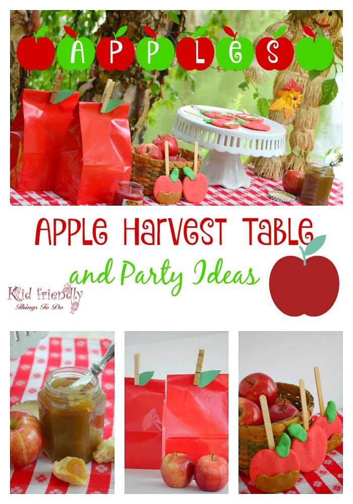 Fall Apple Harvest Party table and ideas for fun food for kids, apple craft, apple butter and the best apple game for kids and adults! - www.kidfriendlythingstodo.com