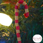 Rustic or Primitive looking Pasta Candy Cane Ornament Craft for Kids at Christmas - The perfect craft for preschoolers, kids and adults of all ages! www.kidfriendlythingstodo.com