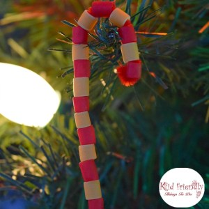 Pasta Candy Cane Ornament Craft for Kids at Christmas - The perfect craft for preschoolers, kids and adults of all ages! www.kidfriendlythingstodo.com