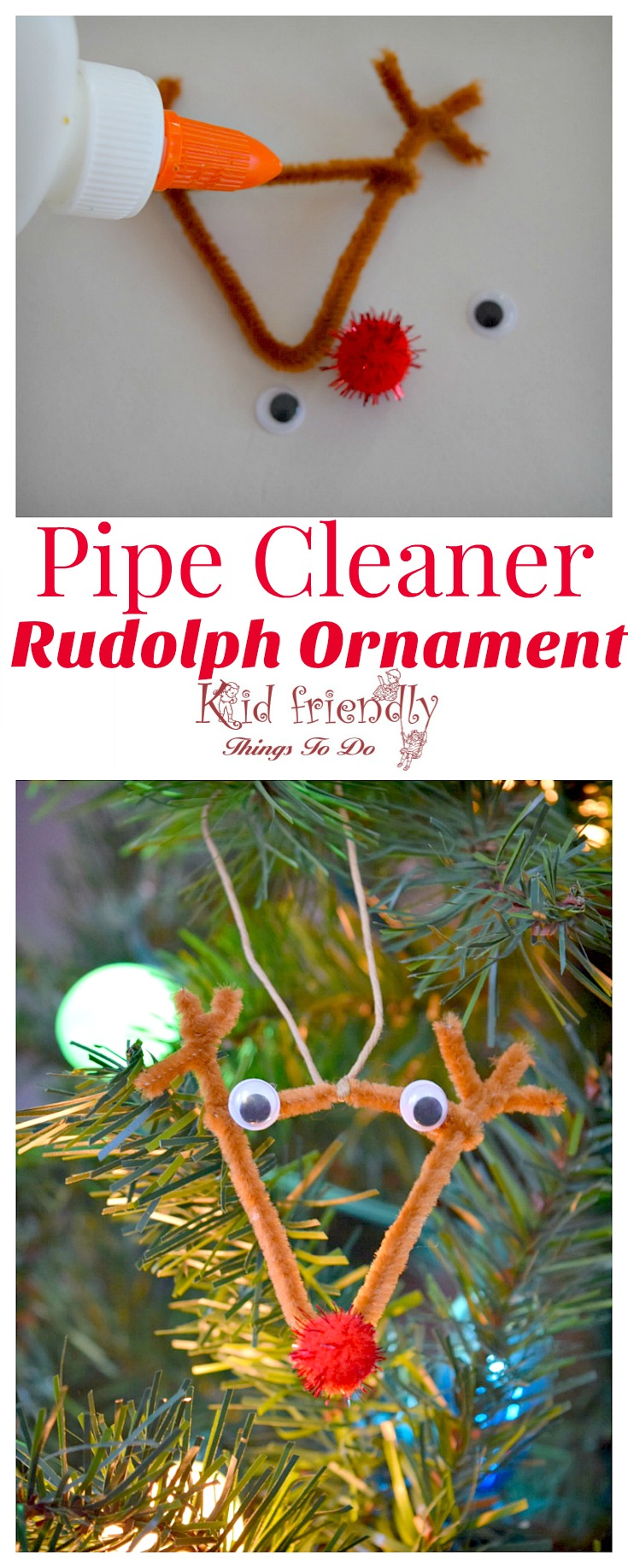 Easy DIY Pipe Cleaner Rudolph Ornament for Kids to Make - Perfect for preschool, and school Christmas Party Craft!   www.kidfriendlythingstodo.com