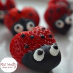 Heart shaped Chocolate Covered Strawberry Ladybugs for a fun food treat on Valentine's Day, Spring, Summer, Fairy Garden Parties or any day! Easy, Fun and delicious. Kids love 'em! www.kidfriendlythingstodo.com