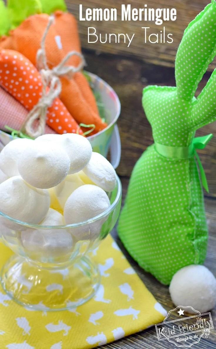 Lemon Meringue Bunny Tail Cookie Recipe for a fun Easter, spring or summer treat! www.kidfriendlythingstodo.com fun food idea for kids