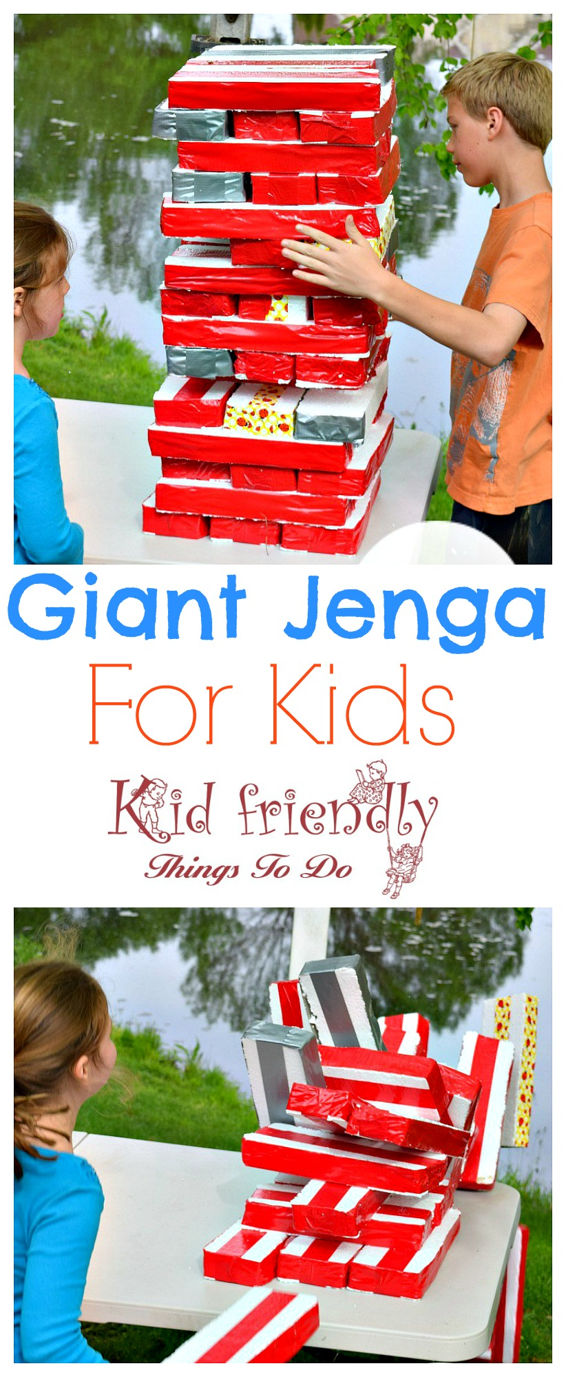 Easy DIY Summer Outdoor Games to play with the kids! Water balloon games and more! www.kidfriendlythingstodo.com - Giant Jenga for kids