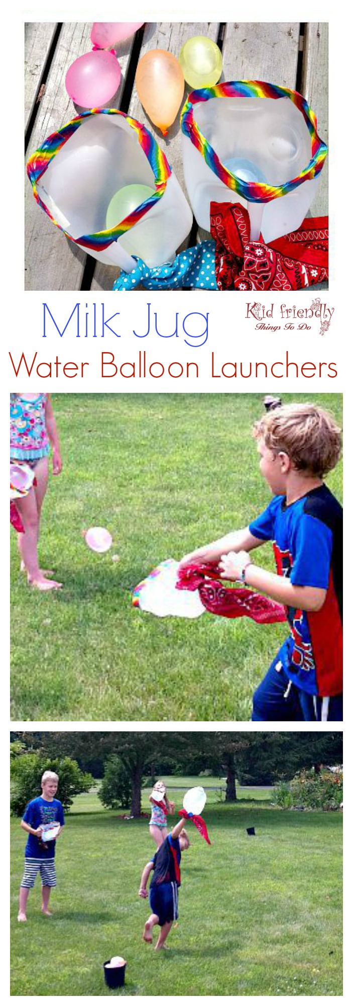 Over 30 Easy DIY Summer Outdoor Games to play with the kids! Water balloon games and more! www.kidfriendlythingstodo.com DIY Milk Jug Water Balloon Game