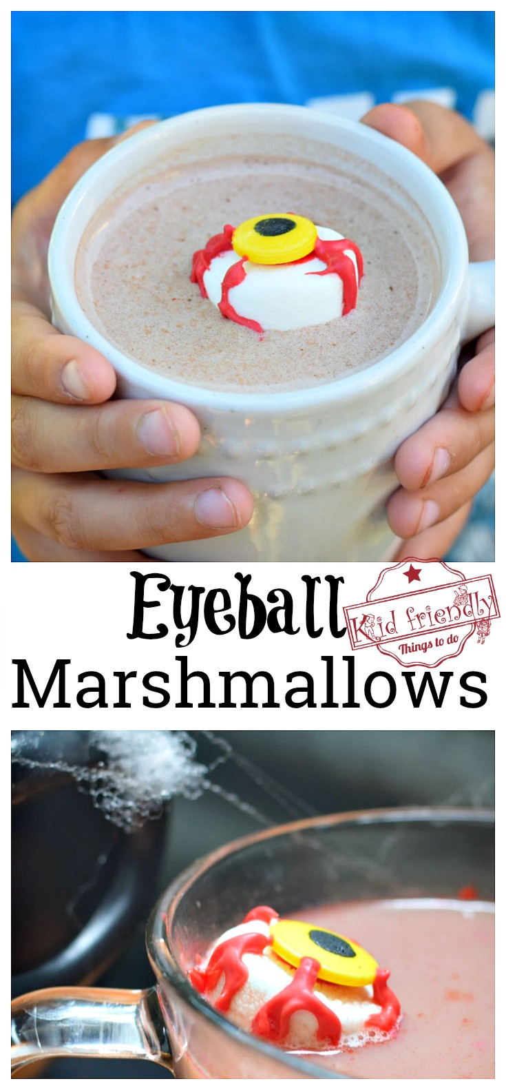 Spooky Marshmallow Eyeball for a Kid's Halloween Fun Hot Chocolate Treat - easy to make and so fun. Fall drink idea. www.kidfriendlythingstodo.com
