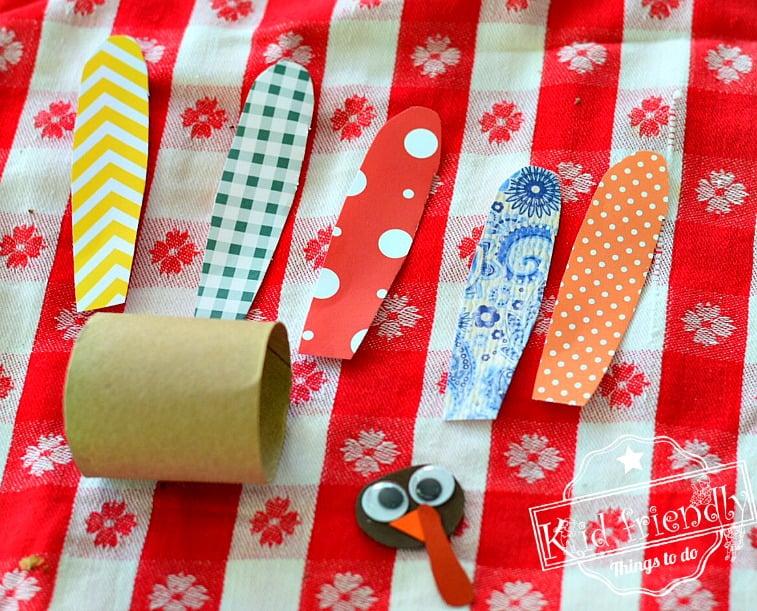 Make a Cute Little Turkey out of a Toilet Paper Tube - Thanksgiving Craft Idea - Easy enough for preschoolers, kindergarten & older kids too - www.kidfriendlythingstodo.com