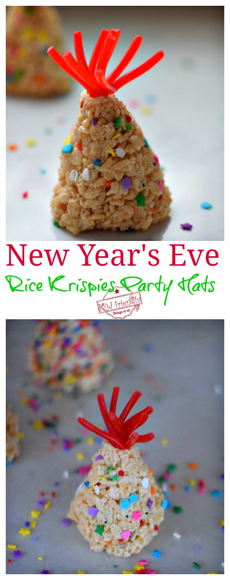 New Year's Eve Rice Krispies Treat Party Hats for a Fun Kid Friendly Treat - Ring in the New Year with these yummy treats - www.kidfriendlythingstodo.com